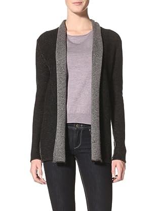 Kokun Women's Double Knit Cardigan (Dark Grey/Black)