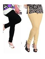 Lux Womens Churidar Cotton Leggings (Set Of 2) - L 11-18