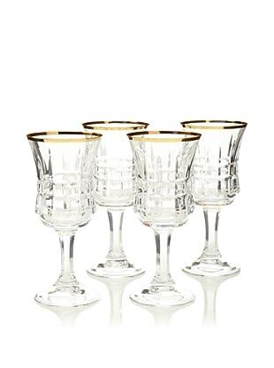 A Casa K Set of 4 Velvet Décor Cut Crystal 8-Oz. Water Glasses, Clear/Gold