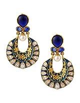 Blue exquisite meenakari mughal ad stone india bollywood ethnic earringCHEA0222BL