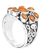 Exotic India Blooming Flower Coral Ring - Sterling Silver Ring Size 6