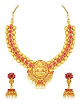 Voylla Gold Plated Temple Necklace Set With Pink Color Stones And Pearl Beads
