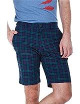 Zobello Men's Mens Yarndye Golf Shorts (31033G_Green Navy Tartan Plaid_32)