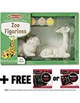 Zoo Figurines: Decorate-Your-Own Kit + FREE Melissa & Doug Scratch Art Mini-Pad Bundle [95471]