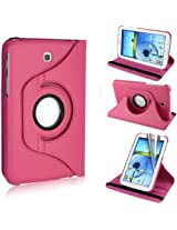 GB 360Rotating PU Leather Stand Case For Samsung Galaxy Tab3 7.0 P3200 Hot Pink