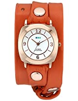 "La Mer Collections Women's LMODY3003 ""Odyssey Wrap Collection"" Rose Gold-Tone Watch with Orange Leather Wrap-Around Band"