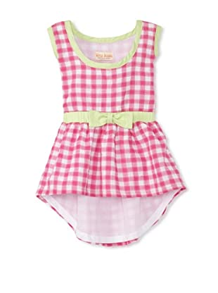 Upper School Girl's Gingham Dress with Bow (Magenta)
