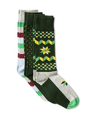 Happy Socks Men's Multi Socks (3 Pairs) (Green/Grey/Yellow)