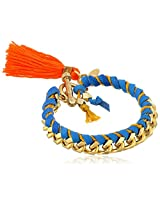 "Ettika Blue Leather and Gold Chain Tassel and Toggle Closure Bracelet, 7"",Blue/Mustard/Orange,"
