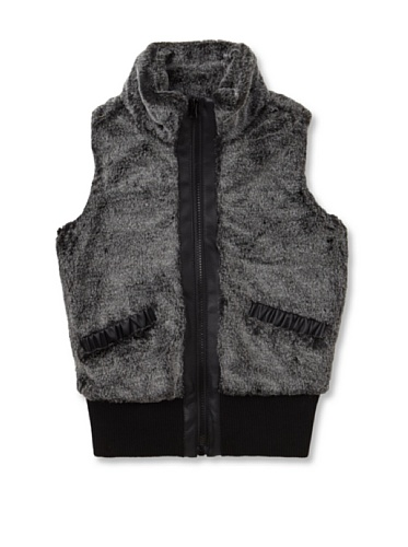 Coffee Shop Girl's Faux Fur Vest (Black)