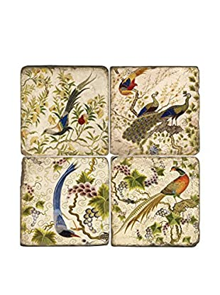 Studio Vertu Set of 4 Exotic Birds Tumbled Marble Coasters with Stand