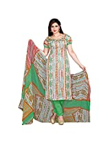 Fabfirki White and Green Georgette Unstitched Salwar Suit