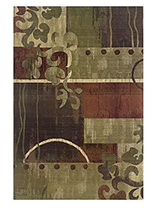 Granville Rugs Essence Rug (Green/Red)