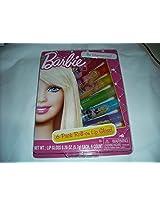 Barbie Lip Gloss - 6 pack - Roll On Flavored Lip Gloss - Cherry, Orange, Mango, Lime, Blueberry & Orange