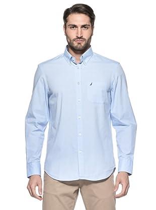 Nautica Camisa Oxford Manga Larga (Azul Medio)