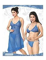 Indiatrendzs Women's Sexy Hot Nighty Blue 3pc Set Honeymoon Nightwear Freesize