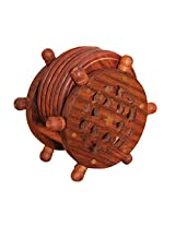 Hand Carved Wooden Coasters Set In Ship Wheel Holder With Floral Carving & Brass Inlay