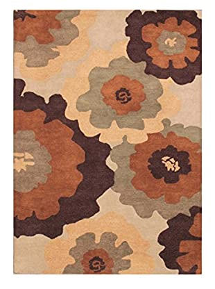 Large Floral Rug, Chocolate, 5' x 8'