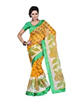 Ansu Fashion Rich Looking Yellow Colour Faux Net Saree