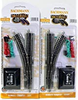 N Scale Bachmann Nickel Silver EZ Track Left & Right Switches for Model Railroad Trains