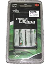Set Of Eveready Ultima Charger With 4 Aa 2100 Mah Ni-Mh Rechargeable Batteries