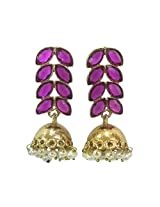 Deco Junction Indian look fancy jhumki with Purple stone