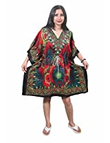 Indiatrendzs Women's Caftan Multicoloured Print Short Sexy Nightwear Nighty