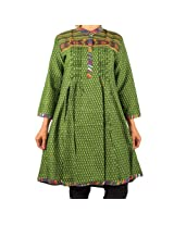 Mruga Women's Frock Style Traditional Kurti-42-Green