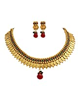 Unicorn's Traditional Gold Plated Temple Design Necklace Set with Earrings - UETMPL04RG