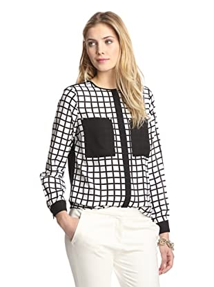 Tracy M Women's Plaid Top with Zipper Detail (White/Black)