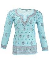 Lucknow Chikan Industry Women's Cotton Straight Kurta (LCI-404, Light Blue, M)