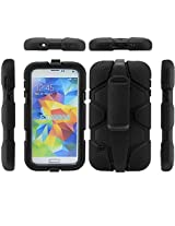 Bracevor 4 in 1 Heavy Duty Armor Case Cover with rotating Belt clip holster Stand for Samsung Galaxy S5 i9600 (Black)