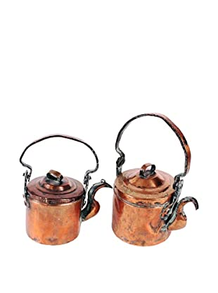 Vintage Set of 2 19th Century Copper Tea Pots