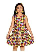 ABHIRA Cotton Polka Dots Brown Dress for Girls