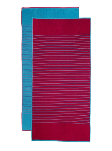 Espalma Jumbo Reversible 2-Piece Beach Towel Set, Pink/Turquoise