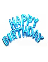 AwesomedaysIn Metallic HAPPY BIRTHDAY(13 Letters) Foil Balloons (BLUE)