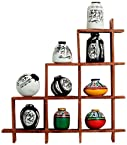 Aapno Rajasthan Wall Decor with Miniature Pots (Wood Brown)