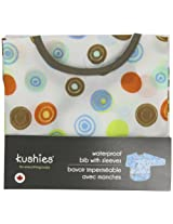 Taffeta Waterproof Bib With Sleeves | White Crazy Circles Size , Infant