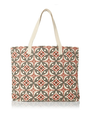 Handmade Interiors Elmas Hand Screened Canvas Bag, Charcoal Grey/Indian Rust