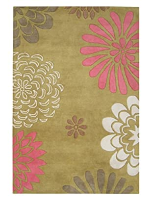 Znz Rugs Gallery Handmade Tufted New Zealand Blend Wool Rug (Honey/Pink/Multi)