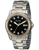 Bulova Diamond Analog Black Dial Men's Watch - 98D122