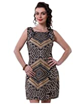 Purys Women's Bodycon Dress (E-150691SP7240_Black Gold_XL)