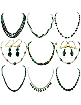Surat Diamonds Real, Oval Green Emerald, Red Ruby & Freshwater Pearl 9 Necklace Hamper with 2 pairs of Earring for Women (H1403)