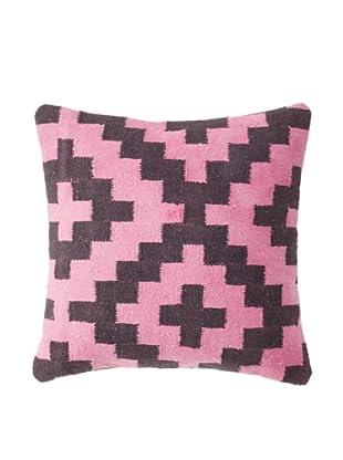 La Boheme Cotton Geo Plus Cushion, Pink/Black, 16