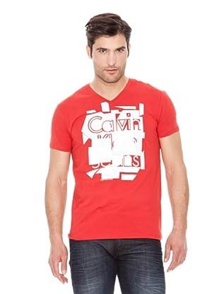 Calvin Klein Jeans Camiseta Stretch Cuello V M / C (Rojo)