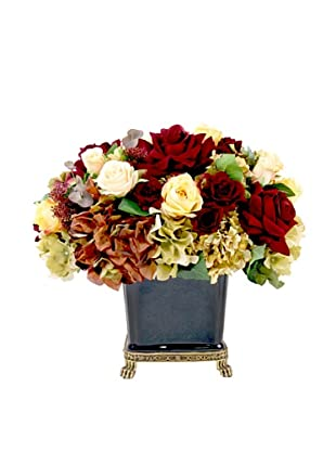 Creative Displays Burgundy, Gold & Rust Rose & Hydrangea in Black Porcelain, 20x19x22