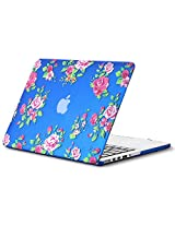 "Kuzy Vintage Flowers Rubberized Hard Case for MacBook Pro 13.3"" with Retina Display A1502 & A1425 - Blue"