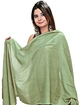 Exotic India Plain Pashmina Shawl from Nepal - Color Lily GreenColor Free Size