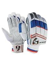SG Excelite Right Hand Batting Gloves, Men's (White/Blue/Orange)