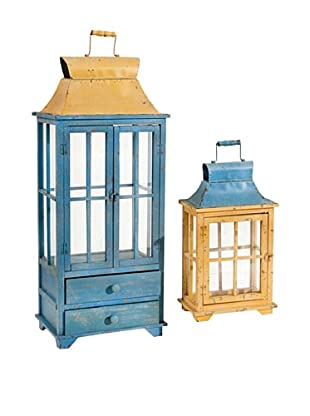 A&B Home Set of 2 Metal Lanterns, Blue/Yellow